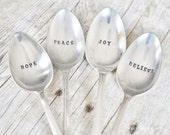 Hope, Believe, Joy, Peace - 4 Piece Christmas Serving Set-  Hand stamped Vintage Tablespoon Set