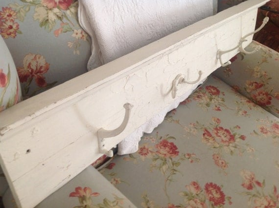 Vintage Shabby Chic Chippy White Shelf Coat Rack With Old