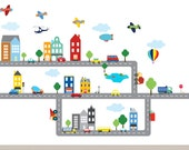 Kids Decal Children Wall Decal Nursery Vinyl Decal Road City Decal
