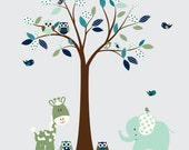 Blue and Green Nursery Vinyl Wall Decal with Birds Owls Giraffe and Elephant