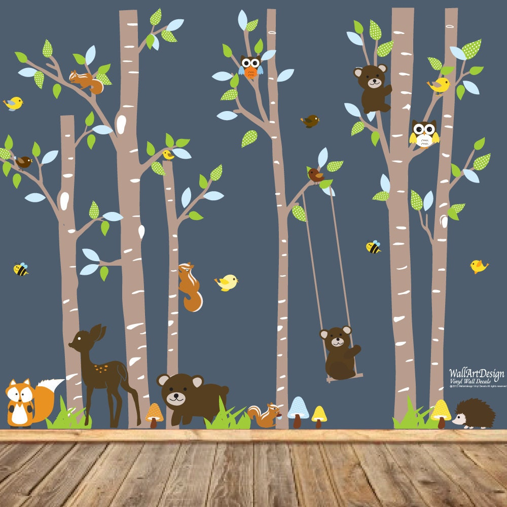 Vinyl Wall Decal Birch Tree Deer Wall Decal Birch Tree Wall - Vinyl wall decals birch tree