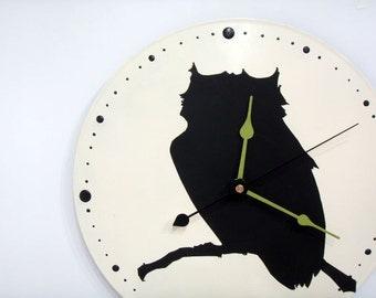 Owl Clock black and white