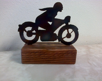 Motorcycle Paperweight Shelf Decoration Reclaimed Wood.