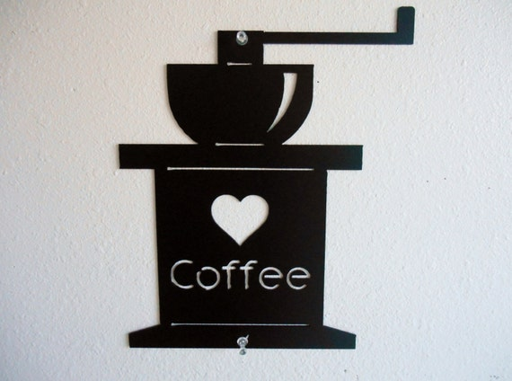 Coffee Grinder Metal Wall Decor Flat Style