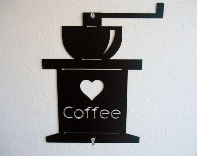 Coffee Grinder Metal Wall Decor Flat Style