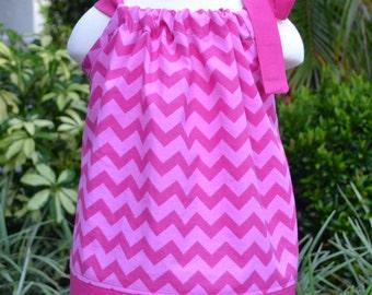 Girls Pink Chevron Pillowcase Dress - summer outfit spring dress summer dress little girls dress, toddler party dress, gift for little girl