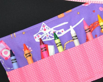 Little Girls Crayon Roll - Fashion Dress Up Birthday Party Favors - Crowns iPod rings earrings purse - Stocking Stuffer - Easter Basket Gift