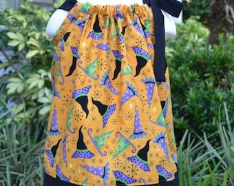 Halloween Dress, pillowcase dress, Witches Hats - Baby Halloween dress, little girls Halloween dress Halloween dress for toddler