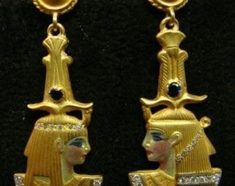 AMAZING 18k gold enameled Egyptian style earrings with diamonds and sapphires