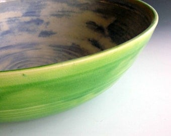 READY TO SHIP Wide shallow serving bowl, Pasta serving bowl, stoneware serving bowl by Leslie Freeman