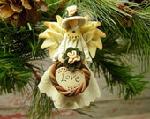 Angel of Love Ornament, Polymer Clay Christmas Ornament
