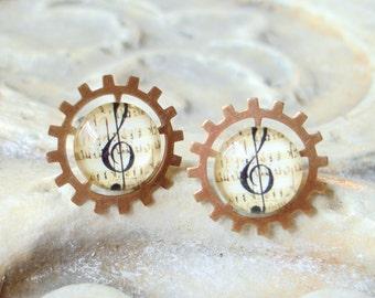 Cufflinks Steampunk Treble Clef Silver Music Staff   C 2-3