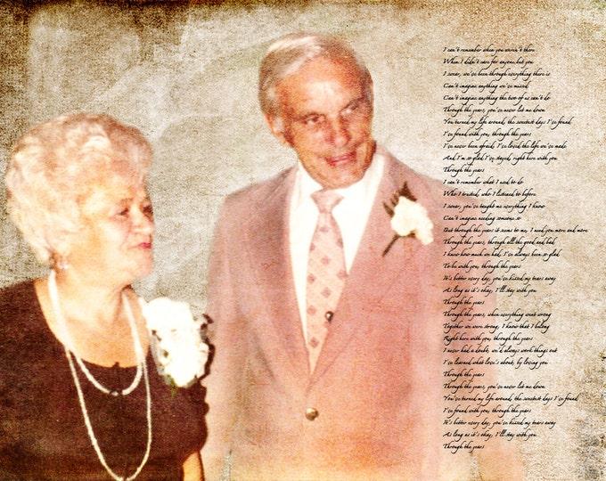 Grandparents Anniversary Parents Anniversary Gift  Wedding Decoration Custom Personalized Wedding Vows Song Lyrics Photo Gift Canvas 12x16