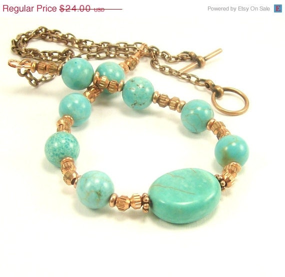 CIJ SALE-10% Off Turquoise Magnesite & Copper Gemstone Necklace~ Gemstone Jewelry Necklace~Southwest Necklace~Turquoise Jewelry~Beaded Jewel