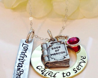 Hand Stamped Called to Serve Missionary necklace-missionary-called to serve-LDS Jewelry-Book of Mormon necklace