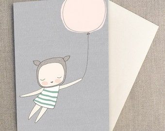 C6 Greeting Card - Little French Bear Girl With Pink Balloon - Mint and Grey