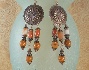 Rodeo Cowgirl Earrings - Orange Agate Concho Dangles with Copper Earwires
