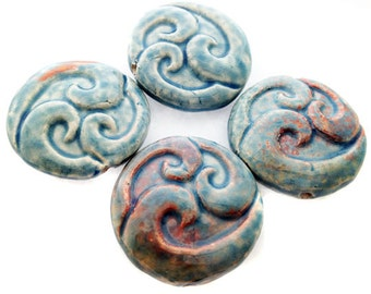 4 Raku Triple Wave Pendants - peruvian beads, ceramic beads, raku beads - LG651