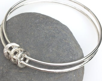 Silver ringed bangle, Family bangle, charm bangle