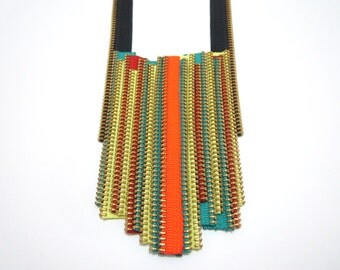 Colored Zippers Flute Statement Handmade Textile Necklaces