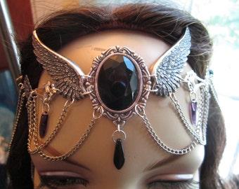 Ebon Circlet of the Raven Priestess Druid Celtic Elven Goddess LARP Bridal