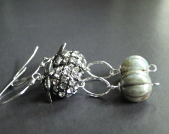 LAST CALL SALE Jewelry, Sterling Silver Swarovski Crystal Drop Earrings, Dangle Earrings, Sage Glass and Crystal Earrings, Accessories