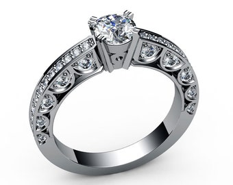 Unique Ring Engagement Ring Diamond Ring White Sapphire Bella channel-set pavé half moon trellis crafted in 18K Yellow or 18K White gold