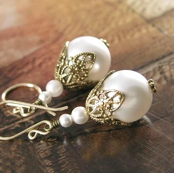Swarovski White Pearl Earrings Antique Gold Earrings Victorian Filigree White Pearl Dangle Earrings