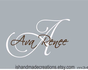 Name  Wall decal Custom  Monogram  first and middle Name DECAL BABY