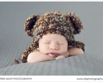 Sweet Dreams Brown Earflap Beanie Bear Hat
