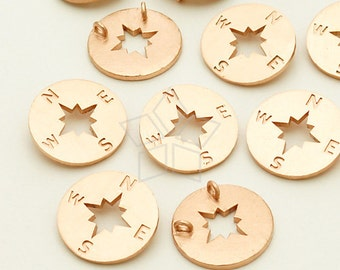 PD-833-MR / 2 Pcs - Compass Sideways Pendant  for Necklace, Matte Rose Gold Plated over Brass / 11mm