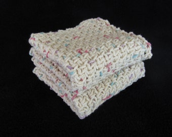 Dish Cloth Pair Off White Ecru 9.5 Inches Square Hand Crochet Set of 2 Washcloth Wash Rag 100% Cotton Speckled Large