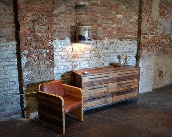 reclaimed wood dual column dresser