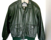 Vintage Evan Todd Leather MOTORCYCLE A2 Dark Green Leather Bomber Flight Mens Jacket medium M