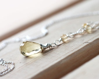 Yellow Aquamarine Beryl Necklace Wire Wrapped in Sterling Silver, Beautiful Lemon Yellow color March Birthstone