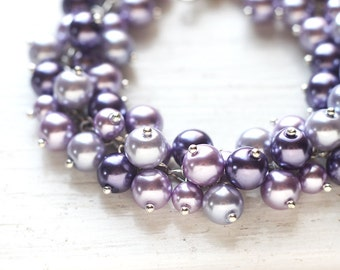 Light Purple Wedding Bridesmaid Jewelry Pearl Cluster Bracelet - Lavender Fields