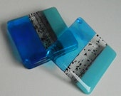 FUSED GLASS COASTERS - Handmade, Contemporary Set of 4