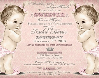 twins baby shower invitation for twin girls vintage, Baby shower invitations