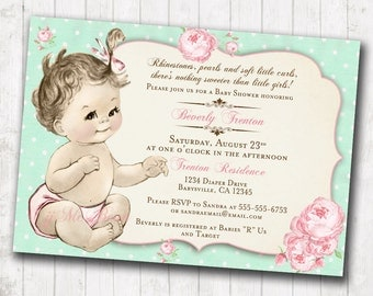 Shabby Chic Floral Vintage Baby Shower Invitation For Girl - Roses Mint and Pink - DIY Printable