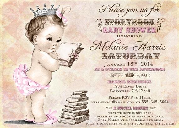 girl baby shower invitation storybook baby shower invitation, Baby shower invitations