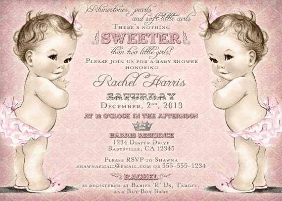 Twins baby shower invitation for twin girls vintage princess il570xn filmwisefo