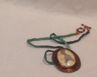 Necklace- Hand Cut Cabochon, Copper, Silk Cord