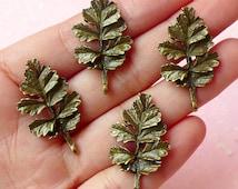 Oak Leaf Charms (4pcs) (18mm x 31mm / Antique Bronze) Metal Findings Pendant Bracelet Earrings Zipper Pulls Keychains CHM105