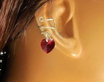 Valentine Gift Birthstone Hearts Sterling Ear Cuff  Swarovski Crystals Mother's Day Gift