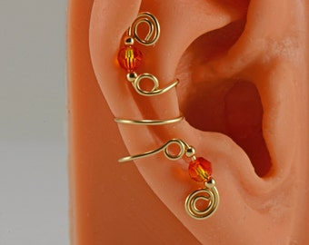 Ear Cuff Clip Gold Filled Wire and Beads Swarovski Fire Opal Crystal Gift Under 15