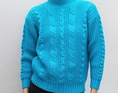 80s vintage women's small acrylic sweater, cable knit, thick knit, bright turquoise
