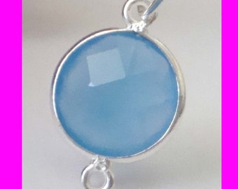 2pcs 17mm x 11mm 2 loops blue Chalcedony Bezel gemstone connector sterling silver