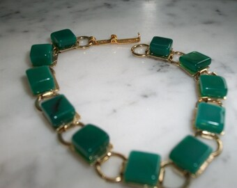 Green and Gold Tone Bracelet