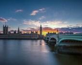 London Photography -- Big Ben and Wesminster at Sunset, London Art, London Print, London Skyline, Sunset Photography