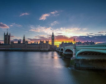 London Photography -- Big Ben and Wesminster at Sunset, London Art, London Print, London Skyline, Sunset Photography